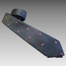 Paco Rabanne - Paris  - Vintage Men's Tie - Navy Blue with Red Paisley - Silk Jacquard