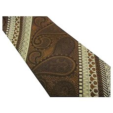 Oleg Cassini Vintage Paisley Jacquard Men's Tie - Brown & Tan 1970's - 80