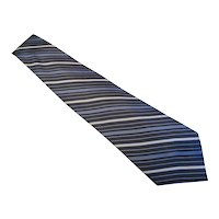 Bijoux Terner  Vintage Silk Necktie  - XL - Hand Made - Blue, Black & Gray Stripe