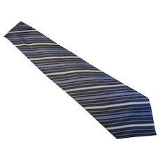 Bijoux Terner  Vintage Silk Necktie  - XL - Hand Made - Blue, Black & Gray Stripe