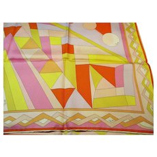 "Emilio Pucci - Vintage Silk Twill Scarf -  Abstract Colorful Design - Made in Italy - 34 x 34"" Square"