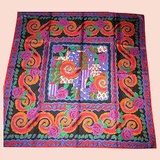 "Estee Lauder 100% Silk Scarf - Bold & Colorful Design - Vintage 1990's - 34 x 35"" Square"