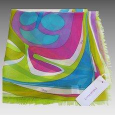 "Emilio Pucci -  Vintage Silk Chiffon Scarf - Made in Italy - 22 x 22"" Square"