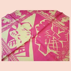"Christian Lacroix  - Paris - Silk Scarf - Vintage 1980's - Shocking Pink  22 x 22"" Square"