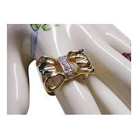 14 Kt. Gold Diamond Ring Bow Design - Vintage 1980's  - 5.4 Grams - 7-1/2 - 7-3/4 Ring Size