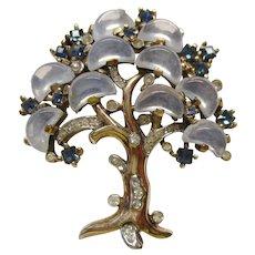 "Trifari Clair de Lune - ""Tree of Life"" -  Faux Moonstone Demilune Pin - Vintage 1950 - Brunialti Book Piece"