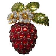 Kenneth Jay Lane - KJL  Strawberry Pin with Enamel Leaves & Rhinestones  -  Book Piece