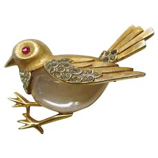 Trifari Jelly Belly Sparrow Pin - Lucite & Rhinestones - Vintage 1965 - Book Piece