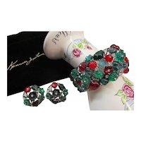 Kenneth Jay Lane KJL Bracelet - Tutti Frutti - Fruit Salad Cuff Bracelet & Clip Earrings