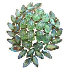 "Trifari Etoile Collection Pin - Vintage 1961 -  Green Lava Stones - 2-1/4"""