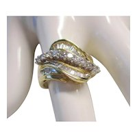 14Kt. Yellow Gold Diamond Ring - Baguettes & Round Diamonds Wave Design - Size 7  - 5.1 Grams