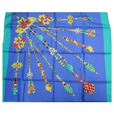 "Cartier Paris - Silk Twill Scarf - Made in France - Vintage Jewel Designs Deco Era Archives - 34"" x 35"" Square"