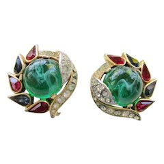 Trifari Jewels of India Clip Earrings - Vintage 1965 Alfred Philippe Design