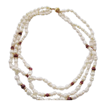 "Freshwater Cultured Pearl 3 Strand Torsade Necklace with Ruby Beads & 14 Kt. Gold Clasp - 18"" Long"