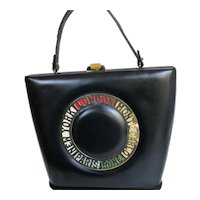 Vintage Prestige Destination Handbag Purse with Cities  - Black Leather  - 1960's