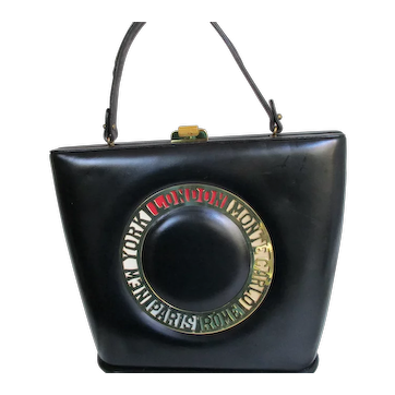 Vintage Prestige Destination Handbag Purse with Cities  - Black Leather  - 1960's