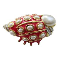 Hutton Wilkinson Vintage 1990's Enamel & Faux Pearl Sea Shell Pin
