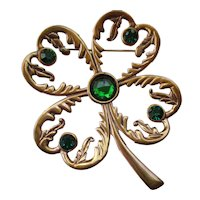 "Shamrock - Four Leaf Clover Vintage Pin 2-1/2"" Long"