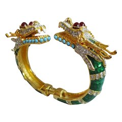 Kenneth Jay Lane - Double Headed Dragon Bypass Bangle Bracelet - Green Enamel - Book Piece