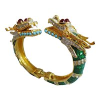 Kenneth Jay Lane - KJL - Dragon Bypass Bangle Bracelet - Green Enamel - Book Piece