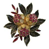 "Coro Vendome - Vintage Chrysanthemum Floral Brooch Pin - 2-1/2"" high - Book Piece"