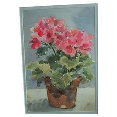 "Original Watercolor Painting - Gail Bracegirdle - Potted Geranium - Framed 16"" x 20"" Bucks County, PA.  Artist"