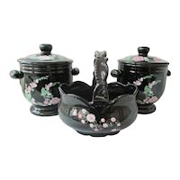 Payot - Paris  Pavlova Vanity Jars with Ceramic Hand Painted Basket & Swan Soaps