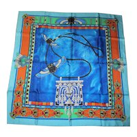"Cartier - Silk Twill Scarf - Le Scarabee  (The Scarabs) Must de Cartier - Paris - Vintage 1994 Collection - 34"" x 35"""