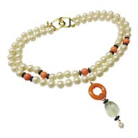 "Kenneth Jay Lane  KJL - Double Strand Necklace - Faux Pearl - Deco Style - 18"" Long"