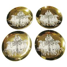 Piero Fornasetti - Set of 4 Vintage Porcelain Coasters - Exclusive for Saks Fifth Avenue