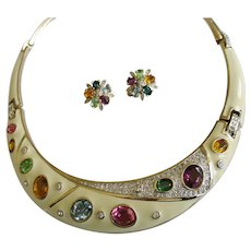 Vintage 1980's Panetta Enamel Choker Necklace & Clip Earrings