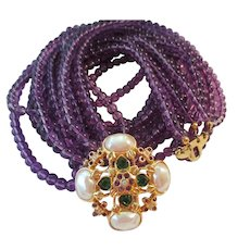 Elizabeth Taylor - Forever Violet - 8 Strand Faux Amethyst Beads - Designed For Avon - 1994 Collection