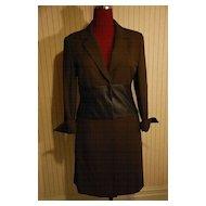 Long Classic Wool Jacket Coat w leather Sz 6
