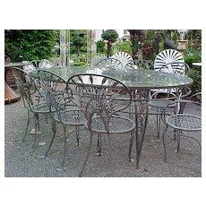"Salterini wrought iron ""Riviera"" Patio Set - Extra large table, 8 chairs"