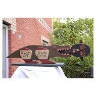 "Fabulous Folk Art Gator Croc ""Swim at own Risk"" Black Memorabilia"