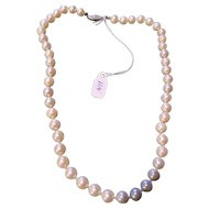 "Cultured Ocean PEARL necklace 16"" w 14kt clasp"