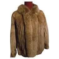Brown Mink -  Fox Trim Tuxedo-style Fur Jacket