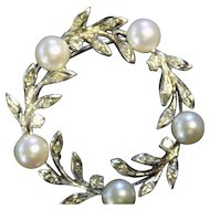 Estate 14kt white gold brooch w cultured pearls AAA quality