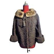 Chocolate brown Persian Lamb fur Jacket stand-up collar Rare
