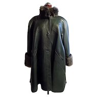 Green leather A-line Fur Trimmed Coat Stroller L -XL