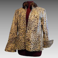 Leopard Cheetah Print Leather Jacket w Sable fur collar