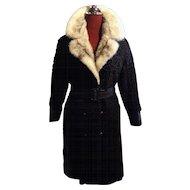 Black lamb leather Trench Coat w Cross Mink fur collar Small