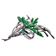 Custom Etched 18k White Gold Nephrite Jade Brooch Broach