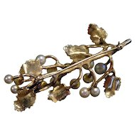 Custom  10K YELLOW GOLD Cultured  Ocean Pearls LG. Brooch Broach