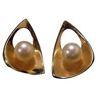 Custom 14k Yellow gold Deco Ocean cultured pearls earrings