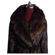 Exceptional Mahogany Mink coat Stroller w Sable Collar