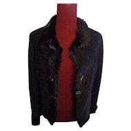 Black Shearling Suede Goat fur jacket casual coat