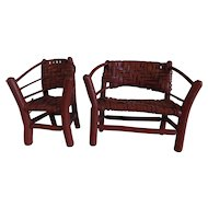 Folk Art Adirondack hand made twig chair w settee rustic