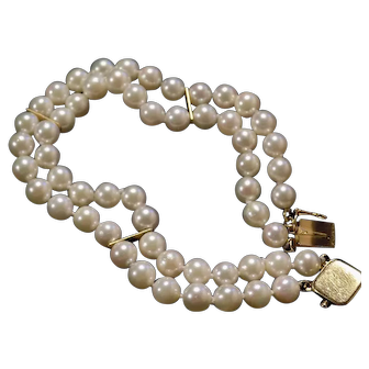 Lady's custom Double strand Ocean saltwater cultured pearl triple AAA bracelet w 14kt Gold