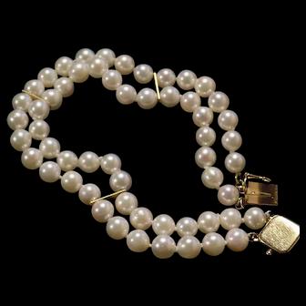 Lady's custom Double strand Ocean saltwater cultured pearl triple AAA bracelet w 14kt Gold